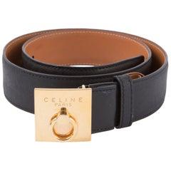 Celine Black Navy Reversible Logo Leather Belt