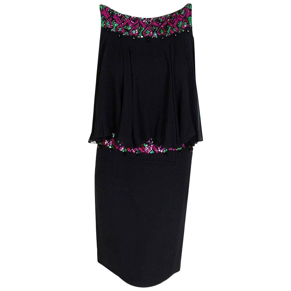 Vintage 1960's Maisonette Couture Sequin Beaded Black Silk-Chiffon Mod Dress