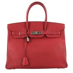 Hermes Birkin Handbag Rouge Casaque Epsom with Palladium Hardware 35