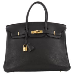Hermes Birkin Handbag Black Togo with Gold Hardware 35