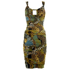 Versace Runway Iconic Sleeveless Dress in Brown, Green & Turquoise - Size IT 42