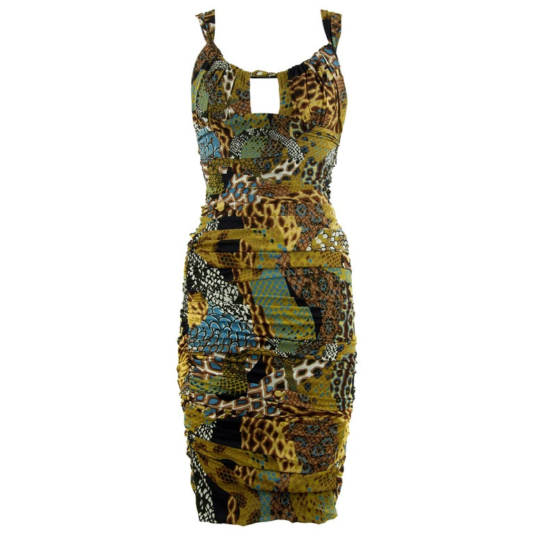 Versace Runway Iconic Sleeveless Dress in Brown, Green & Turquoise - Size IT 42 For Sale