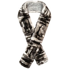 Chanel Grey Cashmere CC Print Rabbit Fur Stole Scarf