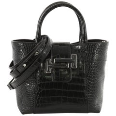 Tod's Double T Tote Crocodile Embossed Leather Mini