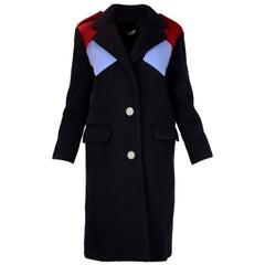 Miu Miu Navy/Light Blue & Red Color Block Wool Coat Sz 36