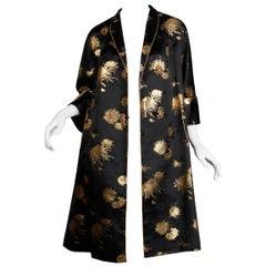 Stunning 1960s Vintage Black + Metallic Gold Silk Satin Evening or Opera Coat