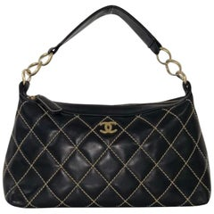 Chanel Lambskin Leather Wild Stitch Large Shoulder with Gold Hardware in Black