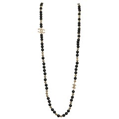 TRES CHIC Chanel Black & Gold 'CC' Necklace