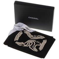 Stunning Chanel 3-String Pearl & Inset 'C' Logo Necklace