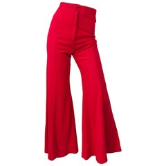 1970s Alley Cat By Betsey Johnson Red Vintage High Waisted Flared Bell Bottoms