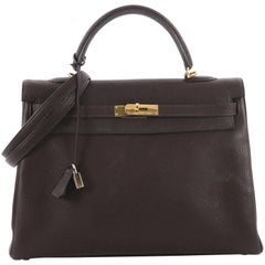 Hermes Kelly Handbag Cafe Brown Fjord with Palladium Hardware 35