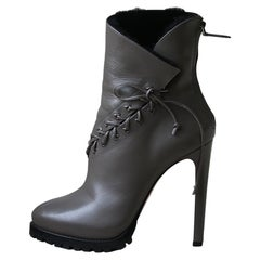 Azzedine Alaïa Shearling-Lined Lace-Up Leather Platform Ankle Boots