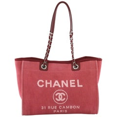 Chanel Deauville Chain Tote Canvas Small
