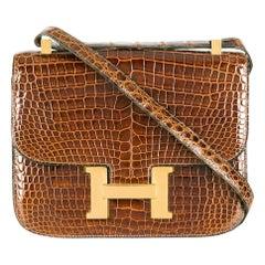 Hermès Miel 23cm Crocodile Constance Bag