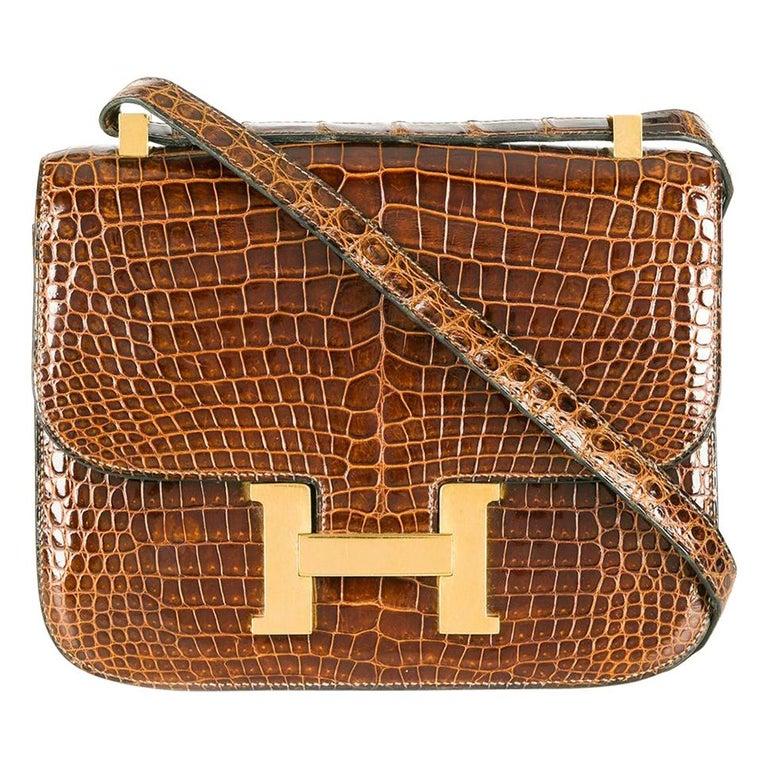 Hermès Miel 23cm Crocodile Constance Bag For Sale
