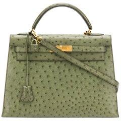 Hermès Vert Olive Ostrich 32cm Kelly Bag