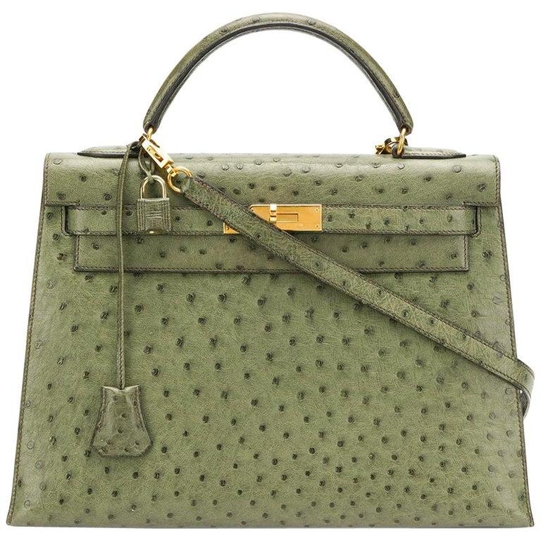7c0c1cd258 Hermès Vert Olive Ostrich 32cm Kelly Bag at 1stdibs