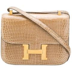 Hermès 23cm Poussiere Crocodile Constance Bag