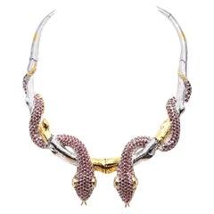 Cleopatra 20 carat Garnet Blue Topaz Snake Branch Necklace-Sterling Silver Gold
