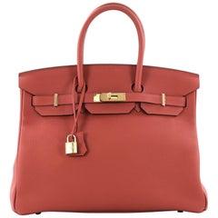 Hermes Birkin Handbag Rouge Tomate Togo with Gold Hardware 35