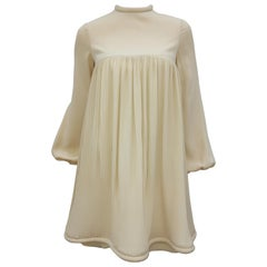 1960's Pierre Cardin Micro Pleated Silk Trapeze Dress