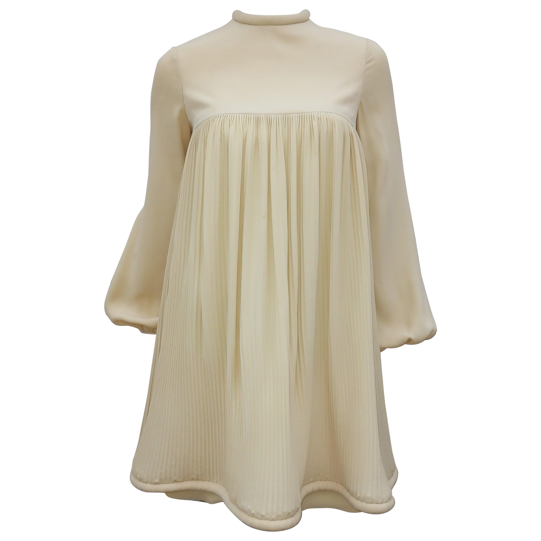 1960's Pierre Cardin Micro Pleated Silk Trapeze Dress