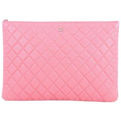Chanel O Case Clutch Quilted Caviar Large