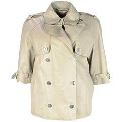 Dolce & Gabbana Beige Leather Double Breasted Jacket W/ 3/4 Sleeves Sz 40