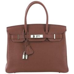 Hermes Birkin Handbag Sienne Togo with Palladium Hardware 30