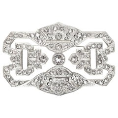 Chanel Crystal Clear Abstract Silvertone Brooch Pin
