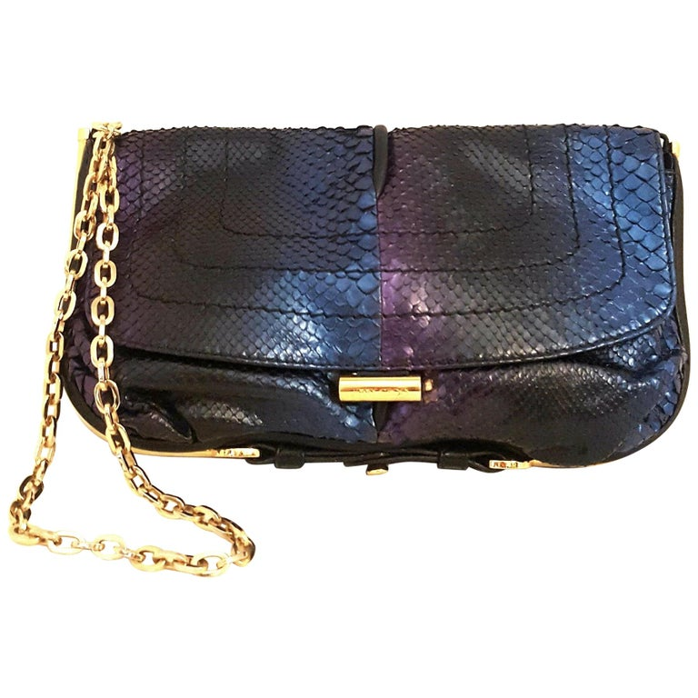 Jimmy Choo Blue Purple Ombre Metallic Python Shoulder Bag W/ Gold Tone Hardware