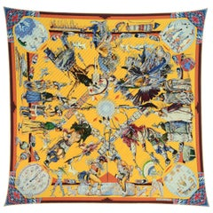 044fb59acdb Hermes Collectors Les Danses Des Indiens Printed Pleated Plisse 90cm Silk  Scarf
