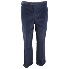 BRIONI Size 32 Navy Solid Corduroy Cuffed Dress Pants