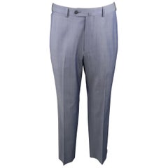 ERMENEGILDO ZEGNA Size 32 Steel Blue Solid Wool Dress Pants