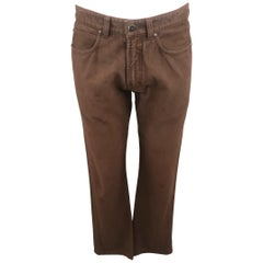 ERMENEGILDO ZEGNA Size 32 Brown Solid Cotton Jeans