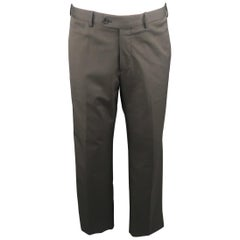 PRADA Size 34 Charcoal Stripe Nylon Blend Dress Pants