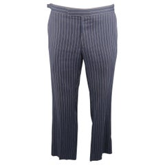 RALPH LAUREN Size 34 Navy Stripe Linen Dress Pants