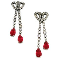 Silver, paste and ruby paste drop earrings, France, 1930s