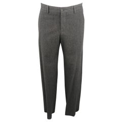 GIORGIO ARMANI Size 34 Charcoal Chalkstripe Wool Blend Dress Pants