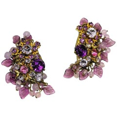 Amethyst glass and coloured paste large cluster earrings, Miriam Haskell, 1960s
