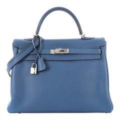 Hermes Kelly Handbag Mykonos Clemence with Palladium Hardware 35