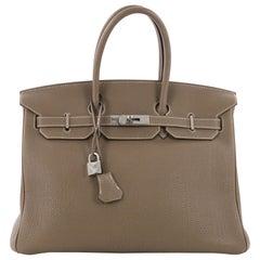 Hermes Birkin Handbag Etoupe Togo with Palladium Hardware 35