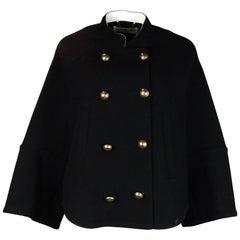 Chloe Black Double Breasted Military Wool Cape/Jacket sz 38