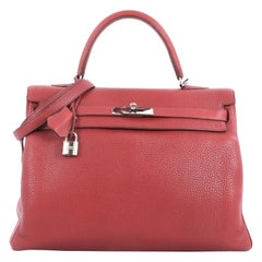 Hermes Kelly Handbag Rouge Garance Clemence with Palladium Hardware 35