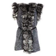 Space Couture Style Grey Knit Wool Vest W/ Fur Trim & Woven Leather Belt Sz S