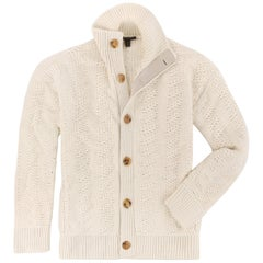 LOUIS VUITTON A/W 2005 Cream Alpaca Classic Heavy Knit Cardigan Sweater LTD