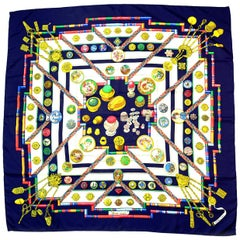Hermes Navy Blue/White Petit Main 90cm Silk Scarf