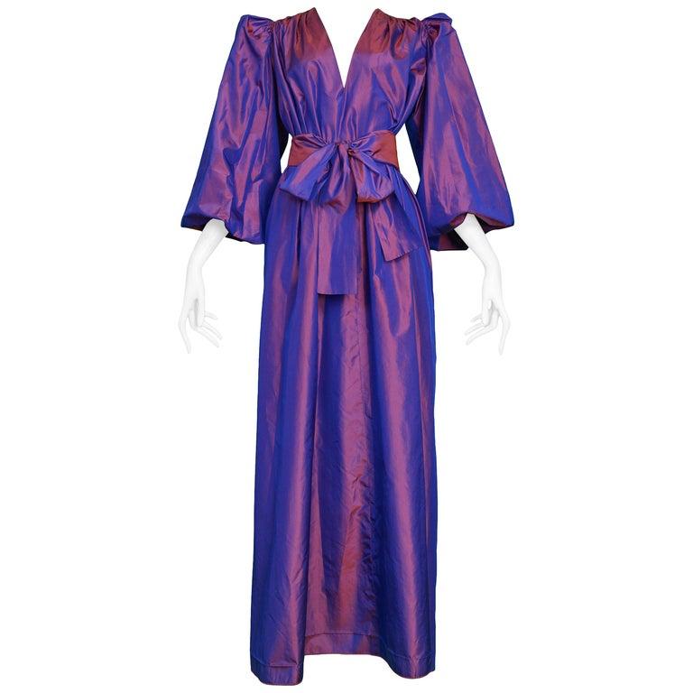 Vintage Yves Saint Laurent Metallic Taffeta Gown  For Sale