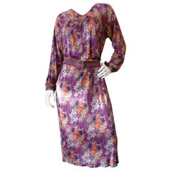 Rare 1973 Missoni Silk Floral Dress With Woven Belt