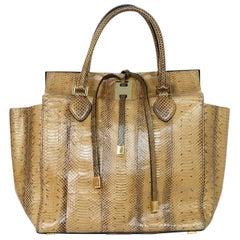 Michael Kors Collection Tan Python Miranda Tie Tote Bag